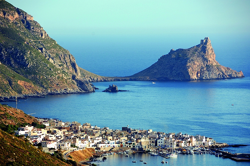 Italy.Sicily. Egadi islands. Marettimo. Punta Troia with his spanish castle and the village of Marettimo.